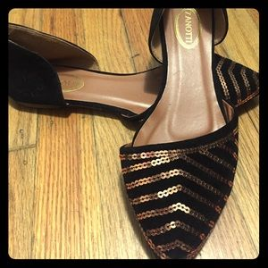 Shoes - Sequined Pointed Closed-toe Slip-on Flats